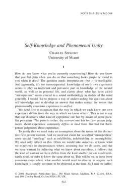"25. ""Self-Knowledge and Phenomenal Unity"""