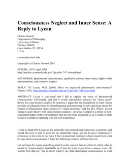 """17. """"Consciousness Neglect and Inner Sense: Reply to Lycan"""""""